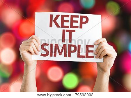 Keep It Simple card with colorful background with defocused lights