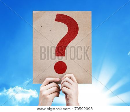 Question Mark Symbol card with a beautiful day