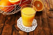 picture of doilies  - Glass of orange juice on lace doily with metal basket and slices on wooden table background - JPG