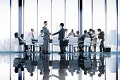 stock photo of handshake  - Business People Conference Meeting Handshake Global Concept - JPG