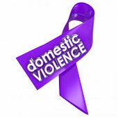 stock photo of stop fighting  - Domestic Violence 3d words on a purple ribbon to raise awareness against the problem of family or spousal abuse in the home - JPG