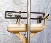 picture of measuring height  - old scale with the meter to measure the weight and height of patients - JPG