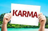 pic of karma  - Karma card with a beach on background - JPG
