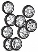 picture of alloy  - automotive wheel with alloy wheels and low profile tires - JPG