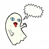 stock photo of funny ghost  - funny cartoon ghost with speech bubble - JPG