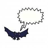 foto of vampire bat  - cartoon spooky vampire bat with speech bubble - JPG