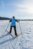 image of ascending  - Cross country skier ascending a steep slope - JPG