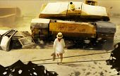 foto of armored car  - Little girl in hat walking towards moving tank illustration - JPG