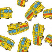 picture of motor-bus  - bus seamless pattern on white - JPG