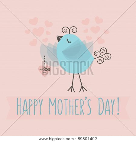 Happy Mother's Day cute little bird