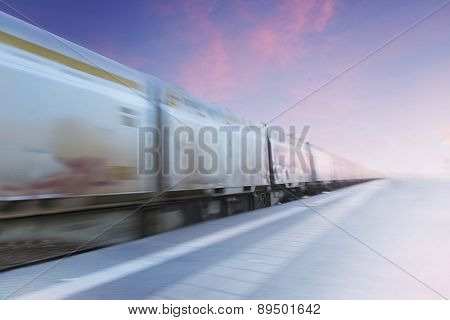 Freight Train In Blurred Motion
