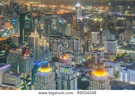 Bangkok Central Business District (cbd) At Night, Thailand