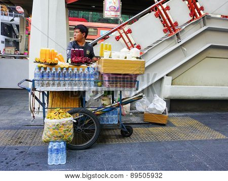 Street Vendors Selling Fresh Fruits And Juice