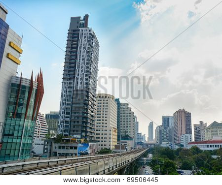 View Of Street And Sky Train