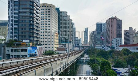 Bts Skytrain On Elevated Rails