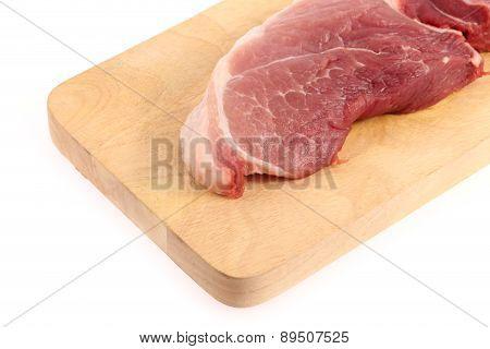 Raw Pork Meat  On Chopping Block