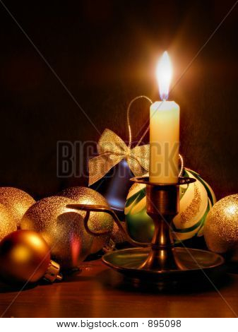 Candle And Christmas Balls