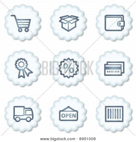 Shopping Web Icons Set 2, White Buttons