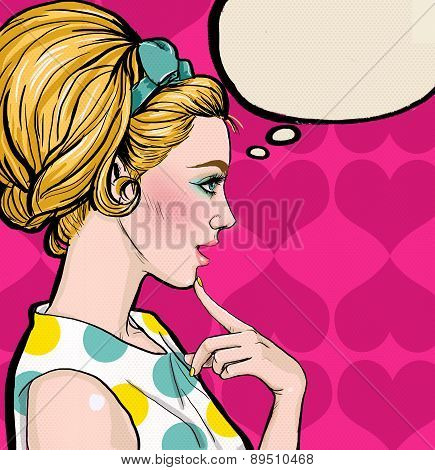 Pop Art illustration of blond girl in profile with the speech bubble.Pop Art girl. Party invitation.