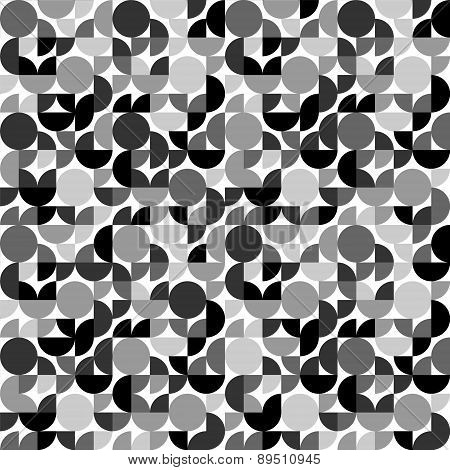 Black and white retro styled circle shapes geometric seamless pattern, vector