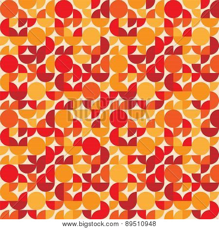 Red retro styled circle shapes geometric seamless pattern, vector