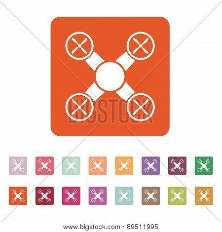 The Quadrocopter Icon. Quadrocopter Symbol. Flat