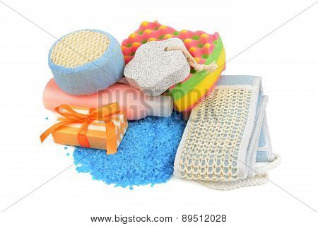 Soaps And Sponge Isolated On White Background