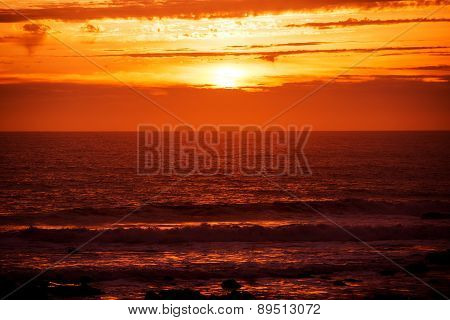 Scenic Red Ocean Sunset