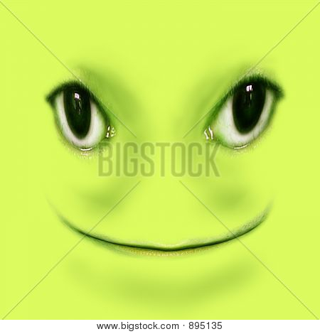 Green Smiling Frog Digital Illustration