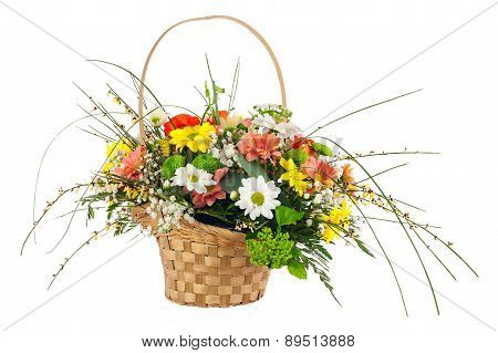 Flower Bouquet From Multi Colored Chrysanthemum And Other Flowers.