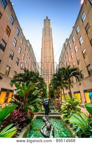 NEW YORK CITY - SEPTEMBER 11, 2012: Rockefeller Center in the summer.  Built in 1939 by the Rockefeller Family, the 19 building complex was declared a National Historic Landmark in 1987.