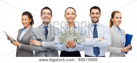 business, success and finances concept - group of smiling business people with dollar cash money