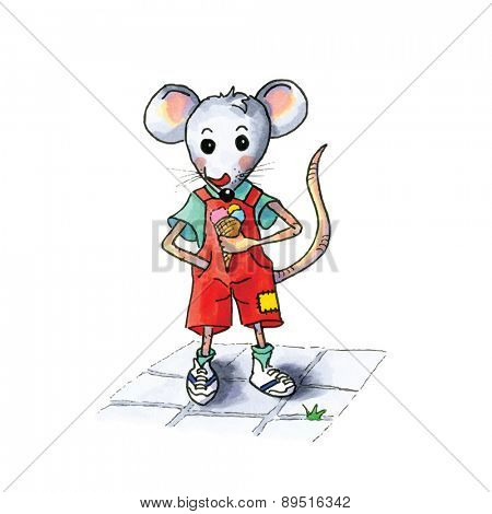 funny little mouse boy with ice cream isolated over white background