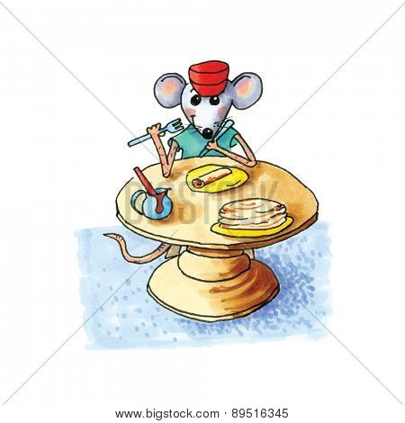 funny little mouse sitting at table and eating pancakes isolated over white background