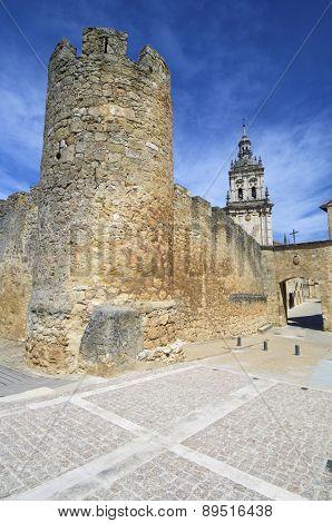 Wall and Cathedarl tower, Burgo de Osma, Soria, Castilla Leon, Spain.