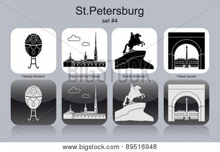 Landmarks of St.Petersburg. Set of monochrome icons. Editable vector illustration.