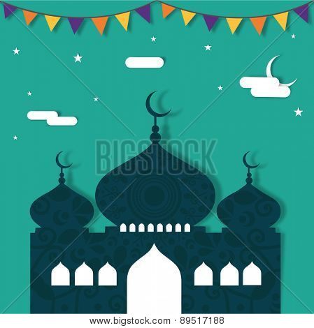 Holy month of Muslim community, Ramadan Kareem celebration with floral mosque on stars and moon decorated background.