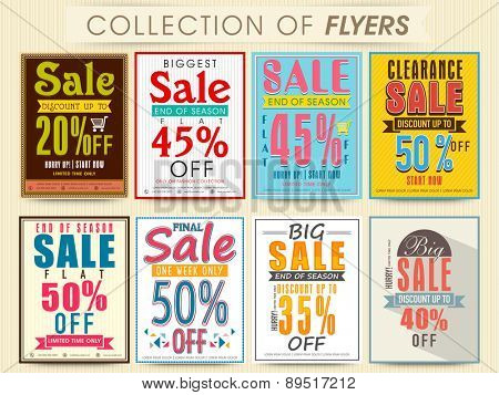 Posters, Banners or Flyers collection for End of Season, Biggest Sale with discount offer.