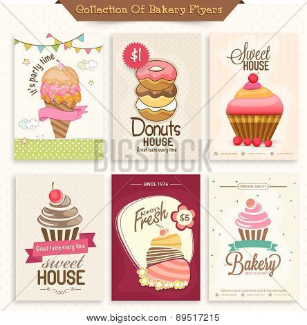 Collection of Bakery Flyers or Menu Cards decorated with sweet ice-cream, donuts and cupcakes.