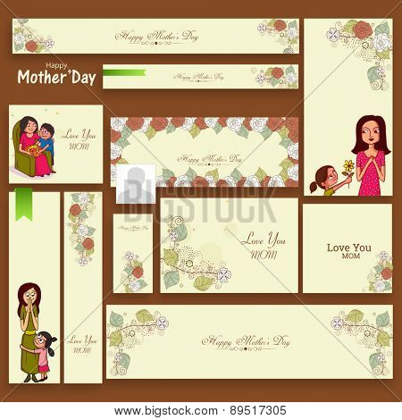 Floral decorated social media headers, ads, banners or post for Happy Mother's Day celebration.