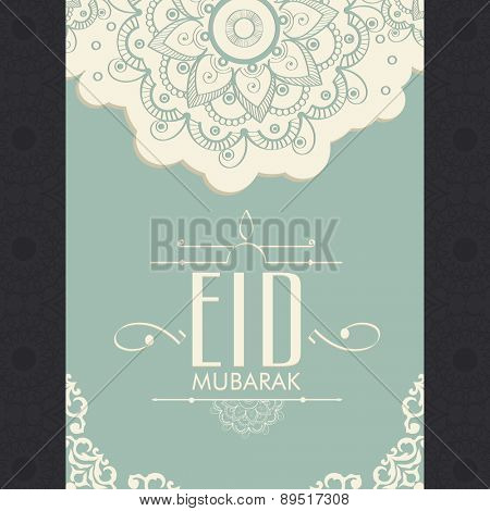 Floral decorated beautiful greeting card for muslim community festival, Eid Mubarak celebration.