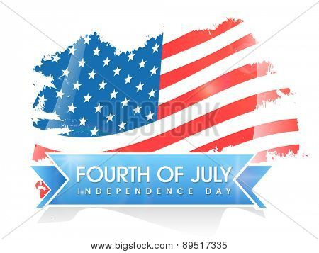 Creative national flag on white background for 4th of July, American Independence Day celebration.