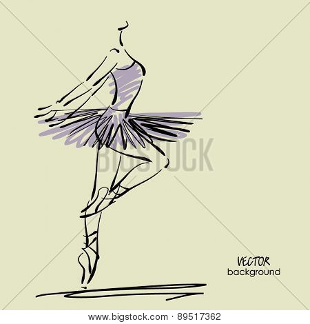 art sketched beautiful young ballerina with tutu in pose of dance
