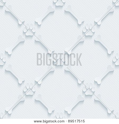 Light perforated paper with cut out effect. Paws print and bones 3d seamless background. Vector EPS10.