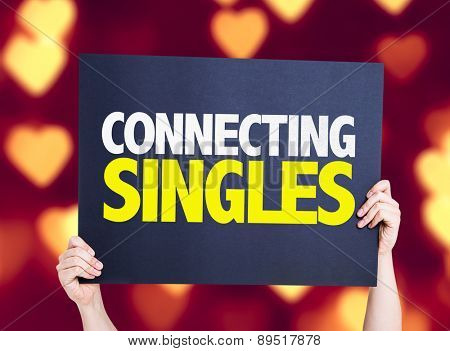 Connecting Singles card with heart bokeh background