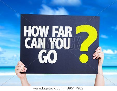 How Far Can You Go? card with beach background