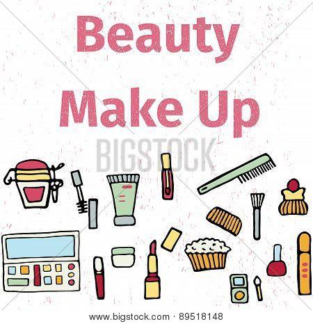 Hand drawn set of make up