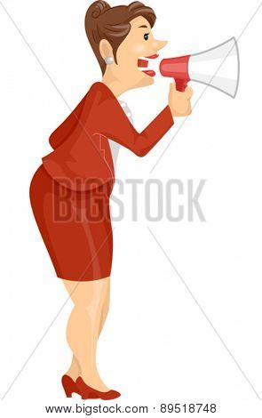 Illustration of a Corporate Girl using a Megaphone