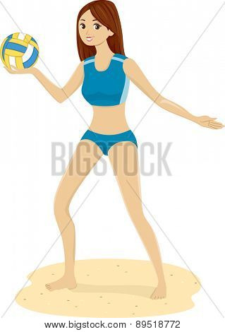 Illustration of a Girl in the Beach holding a Volleyball