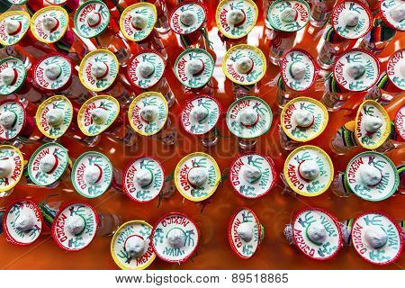 Colorful Mexican Souvenir Hats Shot Glasses Mexico City Mexico